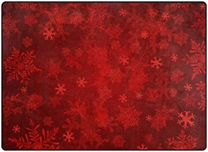 ALAZA Red Christmas Snowflakes Area Rugs 80×58 Inches Non-Skid Lightweight Rugs for Living Room Bedroom Floor Mats