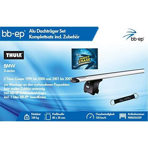 BB EP/Thule 9000554339complet Premium en aluminium de barres de toit pour BMW 3Series 2portes Coupé de 1999à 2000, 2001à 2005–Kit complet avec bande en alum good