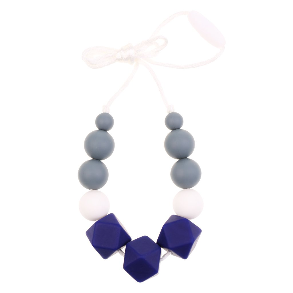 MonkeyJack 1pc Baby Silicone Nursing Teething Chewable Teething Necklace Toy - Deep blue, as described