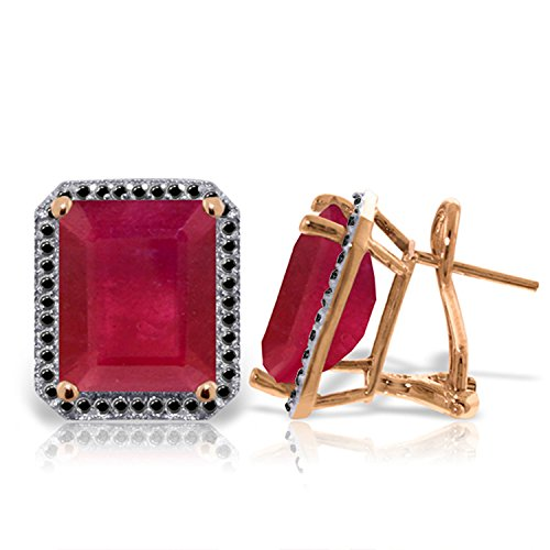 Galaxy Gold 14k Rose Gold French Clips Earring with Natural Black Diamonds and Octagon - Emerald Shape Rubies