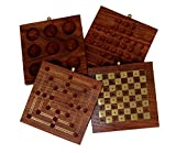 Holiday Games Collectible 4 in 1 - Chess Set Checkers Nine Men's Morris & Tic-Tac-Toe - Indoor Board Games - 10.5 x 6 inches - Travel Accessory - Adults Kids Great Fun