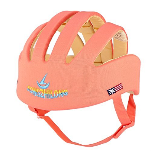 ICOCO Infant Baby Safety Helmet Adjustable Soft Cotton (4 Lines, Orange)