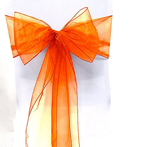 Sarvam Fashion Set of 10 Chair Bows Sashes Tie Back Decorative Item Cover ups for Wedding Reception Events Banquets Chairs Decoration - Orange Wedding Reception