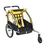 Aosom Double Seats Baby Kids Bicycle Trailer & Stroller with All Weather Portable Canopy Shield and Dual Wheels (Black/Yellow)