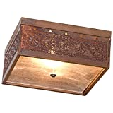 Cheap Square Ceiling Light with Chisel in Rustic Tin