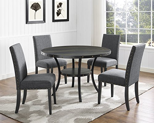 Roundhill furniture biony espresso wood dining set with for Nail table and chairs