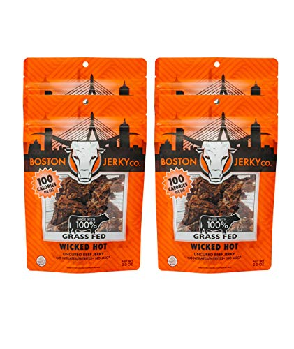 Boston Jerky 100% Grass Fed Beef Jerky | Premium Meat Snack with 14 Grams of Protein | Nitrate and MSG Free (Wicked Hot, 4 Pack) (Grass Fed Beef Roast)