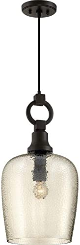 Quoizel CKKD1512WT Kendrick Round Glass Pendant Lighting, 1-Light, 150 Watts, Western Bronze 22 H x 12 W