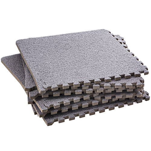 Interlocking Foam Mats – Fluffy Carpet Rug - Interlocking Carpet Tiles – Puzzle Floor Mat - Carpet Foam Tiles , Thick , Non Toxic , Anti-Fatigue , Grey , Premium Foam Mat with Borders