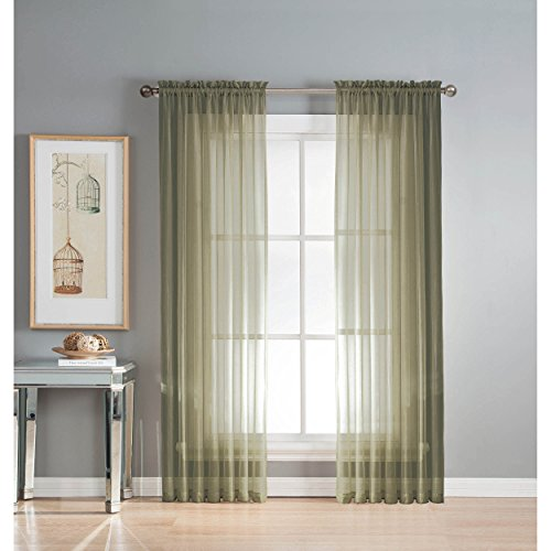 Window Elements Diamond Sheer Voile Extra Wide 56 x 95 in. Rod Pocket Curtain Panel, Olive (Window Covering Ideas)