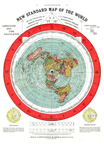 Gleason's New Standard Map of the World [Flat Earth] : circa 1892 30''x42'' by Archival Reprint Company
