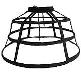 FunStation Women's 3 Hoops Skirt Pannier Petticoat Crinoline Bustle Underskirt Slip (Black)