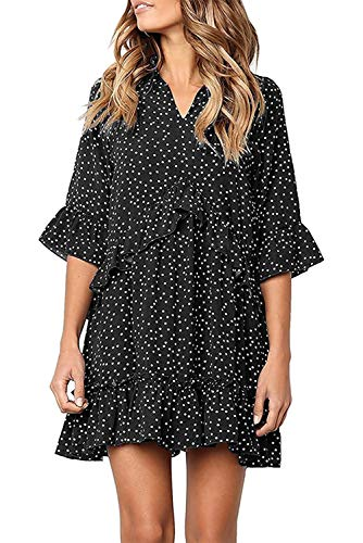 Mystry Zone Swing Flared Dress Ruffled Casual Loose Summer Dresses V Neck Half Sleeve Polka Dot Black L