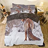 King Size Bed Vs Queen Flannel 4 Piece Cotton Queen Size Bed Sheet Set for bed width 6.6ft Winter Holiday Pattern by,Fox,Countryside Snow Landscape Furry Wild Animal Hunting Vulpine Cold Winter Print Decorative,Redwood Br