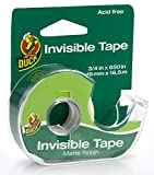 Duck Brand Invisible Matte Acetate Tape with Dispenser, 3/4-Inch x 650 Inches, Clear, Single Roll (1062649)