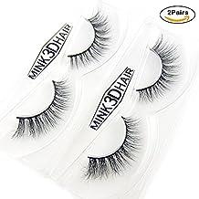 NALATI 2 Pairs Eyelash 3D Fur Mink Hand-made Black Cross Long Thick Fake Lashes Natural Soft False lash Beauty Makeup Crisscross Fake Lashes Extension