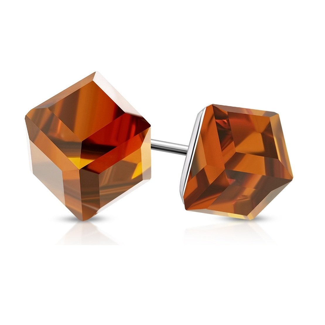 pair Stainless Steel Stud Earrings with Cube Smoked Topaz CZ