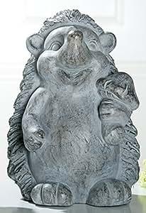 Gilde Figura decorativa, Jardín Decoración erizo Ferdi de magnesi, Gris Antiguo, De pie, 26x 27x 39cm