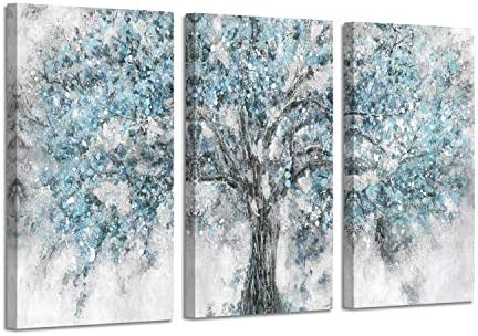 Abstract Tree Artwork Wall Art: Blue Painting Hand Painted Picture on Canva