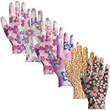 6 Pairs Pu Coated Garden Working Gloves For Women and Men,Multi-Colors,Comfortable, Breathable,Flexible Work Gloves,Universal Size-Medium Fit Most (6 pairs)