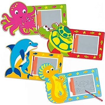 Baker Ross Pizarras mágicas de animales marinos para niños - bolsa de relleno para piñatas (Pack de 8)