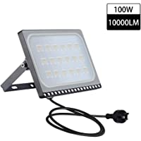 Catinbow 100W Led Flood Light with Plug, Thinner Lighter Outdoor Security Light, 10000Lm, Warm White 2800-3200K, IP65 Waterproof, Landscape Spotlights for Garage, Yard, Lawn and Garden