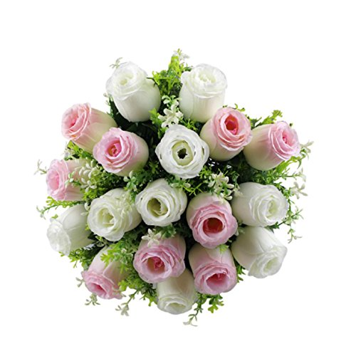 ChainSee 2017 New Fashion Beautiful Design 18Head Artificial Silk Roses Flowers Bridal Bouquet Rose Home Wedding Decor (F)