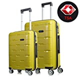 Lightweight Luggage Sets Hardside Spinner Trolley Expandable Luggage Bag for Travel and Business Luggage Set 24″ (Olive Yellow) For Sale