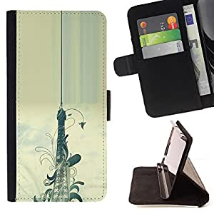 DEVIL CASE - FOR HTC DESIRE 816 - Floral Pattern Eifel Tower Paris Painting - Style PU Leather Case Wallet Flip Stand Flap Closure Cover