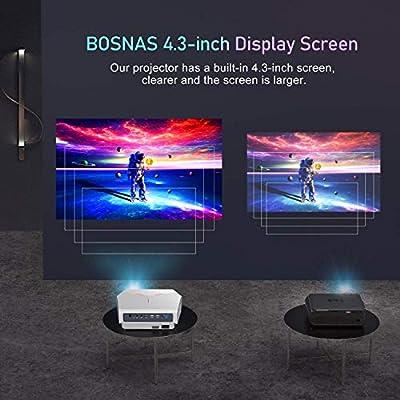 Actualizado 2020】 Proyector WiFi, BOSNAS Mini Proyector Portátil 5800 Lúmenes Nativo 720P, Soporta Full HD 1080P, Pantalla de 200