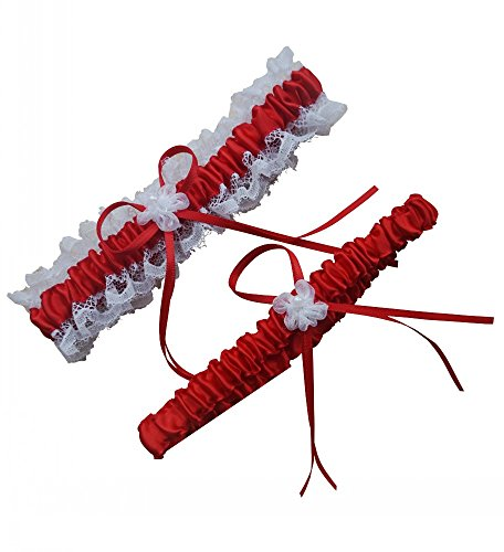 Miranda's Bridal Women's Lace Edge Bridal Garters Wedding Garters with Ribbons Red (Garters Red)