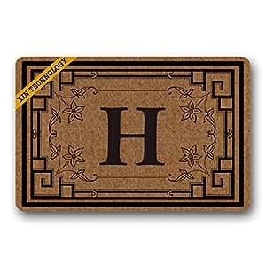 """artsbaba Felpudo personalizado tu texto Felpudo flores frontera letra H Doormats monograma antideslizante Felpudo non-woven fabric felpudo interior decoración de entrada alfombra Felpudo 23.6""""x 15.7"""""""