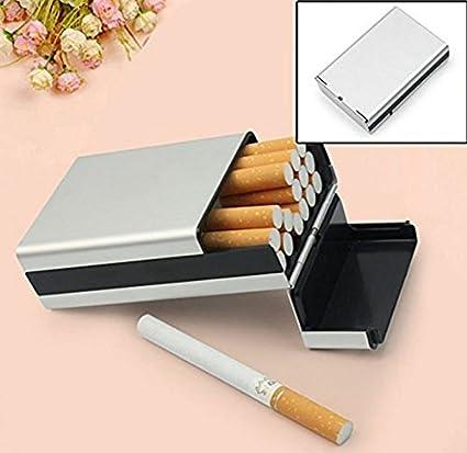 tfxwerws cigarrillo caja de lata Metal Aluminio Funda para cigarrillos cigarros de tabaco (plata)
