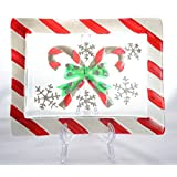 12 Inch x 9.5 Inch Silver and Red Christmas Candy Cane Glass Platter