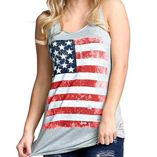 American Flag Tank Tops, AgrinTol Casual Womens Print Sexy Sleeveless Tank Crop Tops American Independence Day