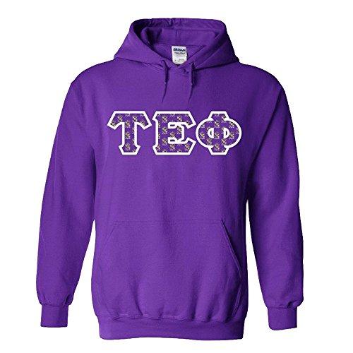 (Greekgear Tau Epsilon Phi Fraternity Crest Twill Letter Hooded Sweatshirt X-Large Purple)