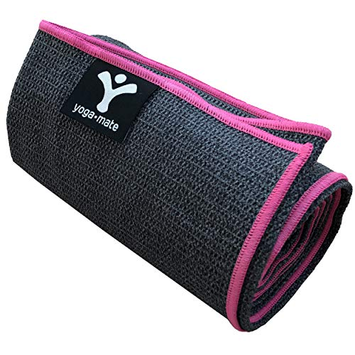 Yoga Mate Sticky Grip Yoga Towel The Best Non-Slip Towel for Hot Yoga - Anti-Slipping, Sweat Absorbent Microfiber Towels with Silicone Grip Bottom - Perfectly Fits Standard & XL Sized Mats (Best Yoga Mat For Hot Vinyasa)