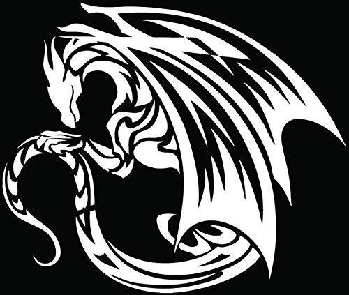 [Tribal Dragon Fantasy Medieval Car Truck Window Bumper Vinyl Graphic Decal Sticker- (6 inch) / (15 cm) Wide GLOSS WHITE Color] (Dragon Tribal Car)