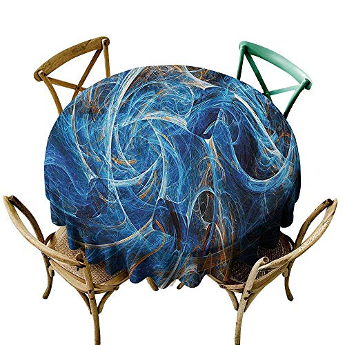 Zzmdear Dustproof Tablecloth Fractal Chaos Curves Hollow Science Fiction Style Space Wind Abstract Digital Artwork Excellent Durability D67 Blue Golden -