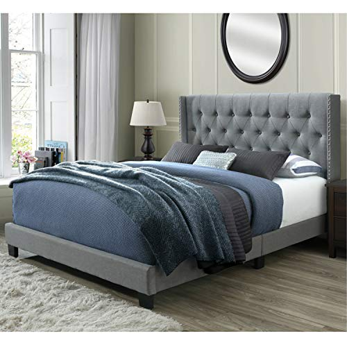 DG Casa Bardy Diamond Tufted Upholstered Wingback Panel Bed, Queen in Gray Fabric