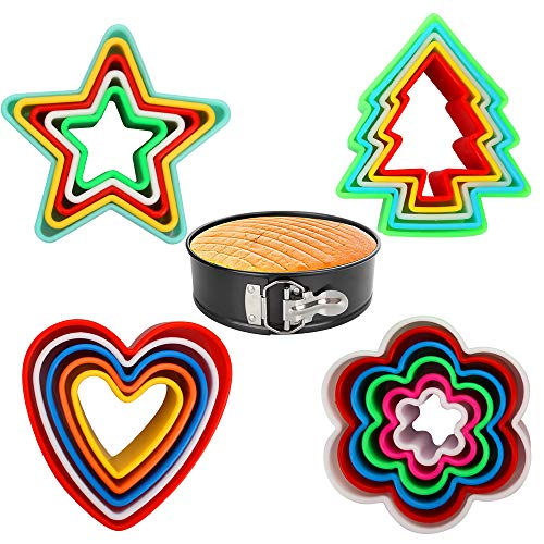 - Cookie Cutters Set Cake Cutters with 4 Shapes for Different Size Cookies Come with 7inch Non-Stick Springform Pan (21 PCS)