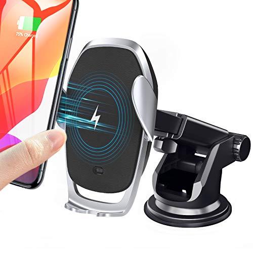 Moskee 无线车载充电器支架,自动夹紧,Qi 10W 7.5W 快速充电,通风口手机支架兼容 iPhone 11 11 Pro Max Xs MAX XS XR X,Miyababy 三星 Galaxy (黑色)