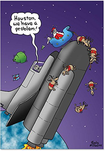 12 Boxed 'Houston We Have a Problem' Christmas Cards with Envelopes 4.63 x 6.75 inch, Happy Holidays with Silly Santa and Astronauts Christmas Cards, Funny Seasonal Greeting Cards B5760