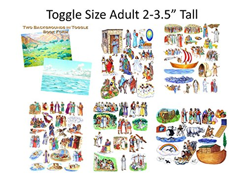 (Toggle Size Story & Life of Jesus 13 Bible Stories Set Felt Figures & Flannel Board + Noah's Ark- Precut- Lesson Guide Activity Pages)