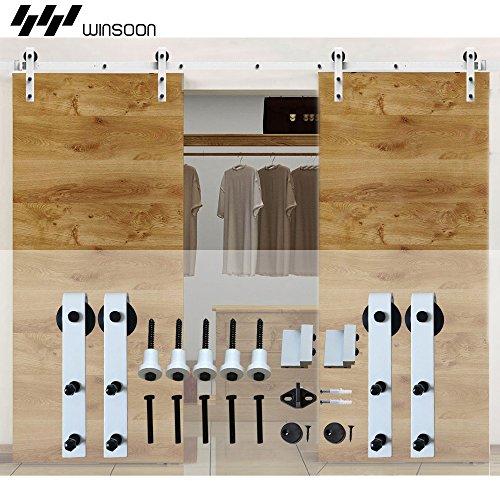 WINSOON White Interior Steel Roller Double Sliding Door Hardware Set Hanging Wooden Barn doors (6FT /72