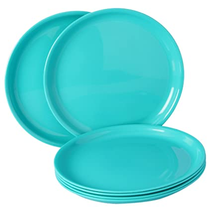Incrizma Polypropylene Microwave Safe Break Resistant Dinner Plates 6 Pieces Round Sea Green  sc 1 st  Amazon.in : polypropylene dinnerware - pezcame.com