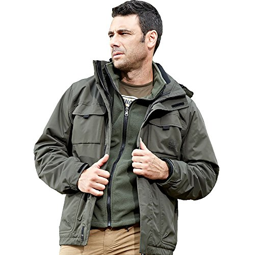 Varsity Dance Costumes - ELEPHANT DANCING Mens Three-in-one Sportswear Thickened Removable Liner Jacket, Green