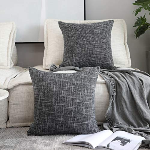 Kevin Textile Soft Faux Linen Square Decorative Cushion Cover Pillowcase with Hidden Zipper, 2 Packs, 20x20 inch, Black