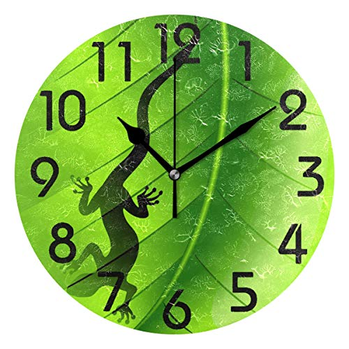 - Naanle 3D Stylish Lizard Gecko Shape on Green Leaf Print Round Wall Clock, 9.5 Inch Battery Operated Quartz Analog Quiet Desk Clock for Home,Office,School