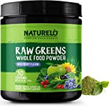 NATURELO Raw Greens Superfood Powder - Best Supplement to Boost Energy, Detox, Enhance